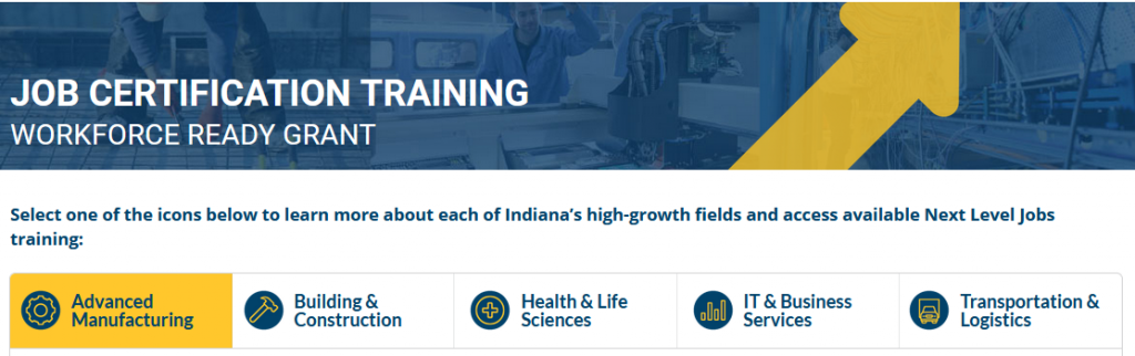 Next Level Jobs Program Indiana