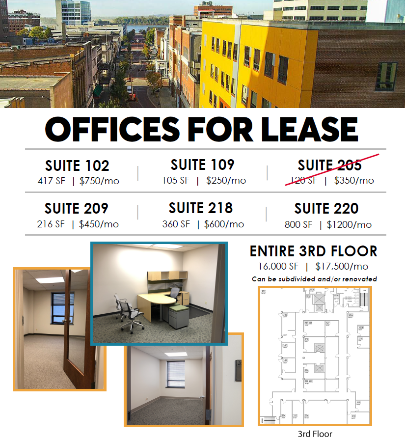 Downtown Evansville Office Space for Lease at Innovation Pointe